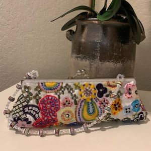 Hand Made Clutch With Beaded Handle.